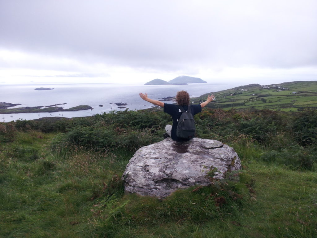 solo traveler enjoying the Irish landscape on the Ring of Kerry