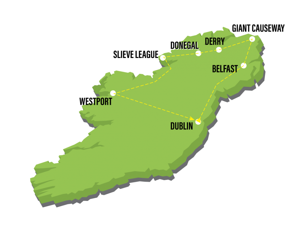 Map Of Ireland Giants Causeway.7 Day Crozier North West Ireland Small Group Tour