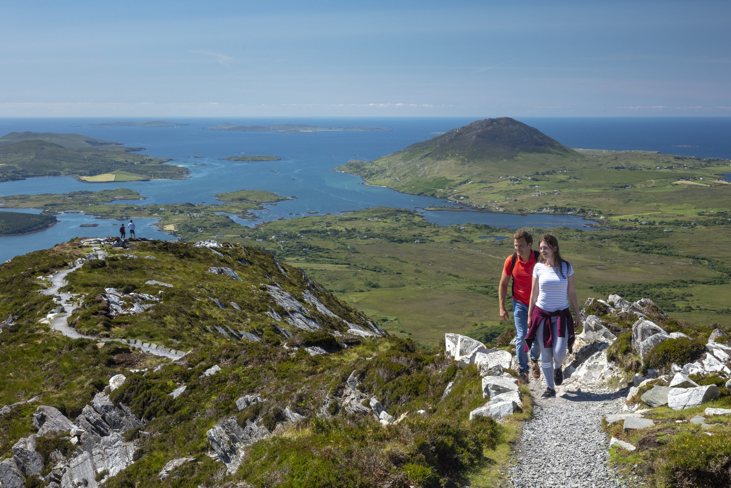 A couple hiking in Connemara National Park Ireland