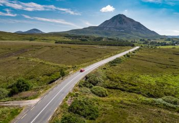 aerial view of open road to Mount Errigal Donegal