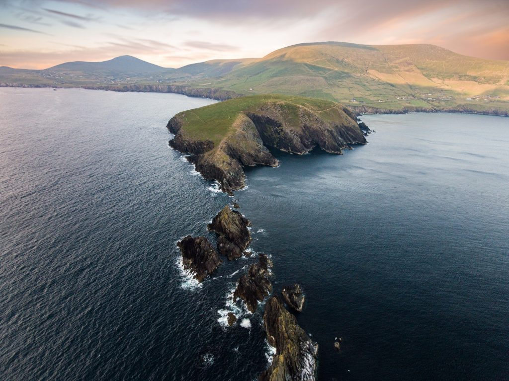 Aerial view of Dunmore Head, Co Kerry part of our small group tour of Ireland