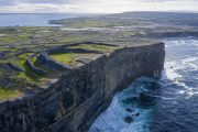 Aerial shot of Dun Aongus Fort on Inismore , Aran Islands , Galway , Ireland