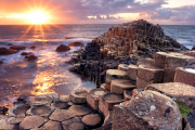sunset view at the Giants causeway