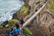 crossing the rope bridge at Carrick a Rede
