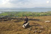 A solo traveler at the foot of Croagh Patrick on our small group tour of Ireland