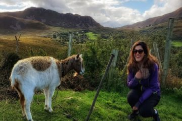 Solo traveler meeting a goat on a small group tour of Ireland with Irish Experience Tours