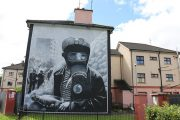 murals on side of house at the Bogside Derry city Northern Ireland