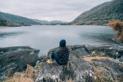 solo traveler overlooking Killarney lakes - small group tour of Ireland
