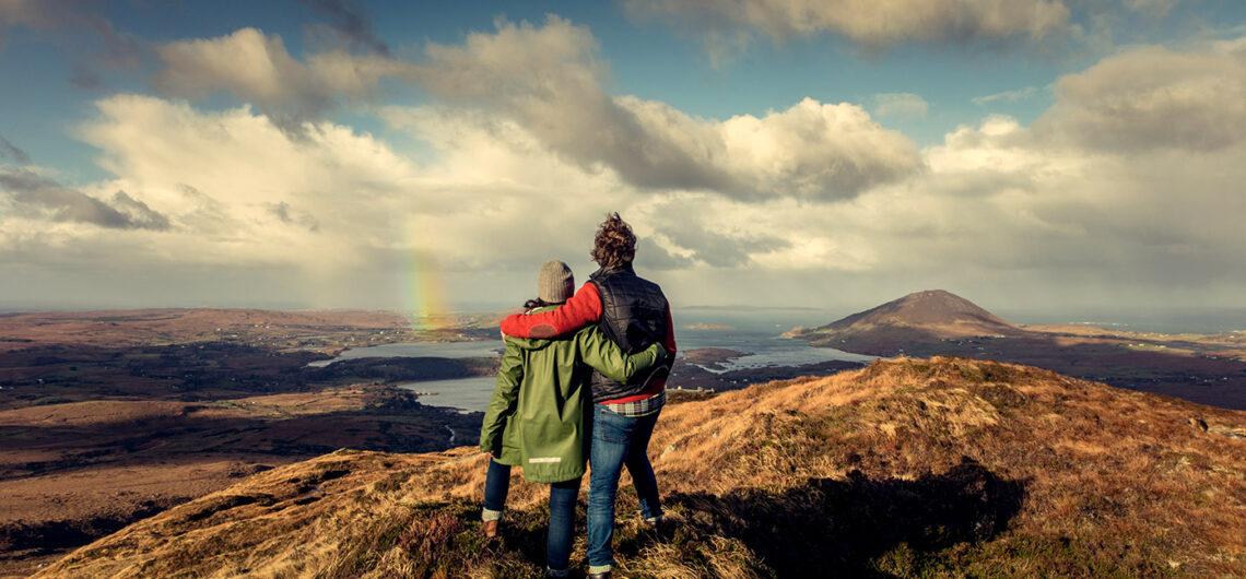 couple overlooking Connemara on small group tour