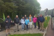 small group of travelers getting ready for a boat trip down the river Boyne
