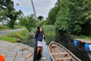 traveler enjoying her Game of Thrones experience at the Boyne Valley