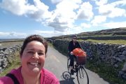 friends enjoying biking on the country roads of Inismore , Aran islands