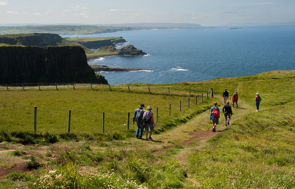 small group hiking the causeway coast with Irish Experience Tours