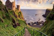 stairway to Dunluce castle on the causeway coast - Irish Experience Tours