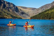 Adventure kayaking on lake in Ireland