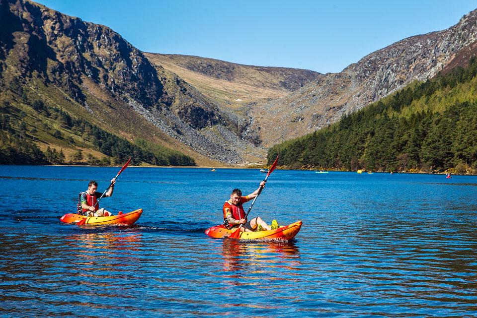 Adventure kayaking on lake in Ireland